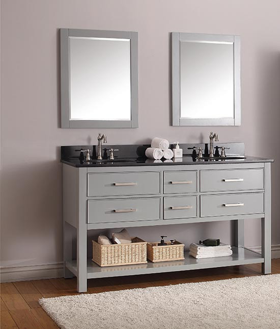 Avanity Brooks (double) 61 Inch Transitional Bathroom Vanity   Chilled Gray