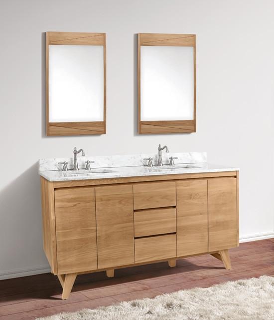 Avanity Coventry Double 61 Inch Modern Bathroom Vanity Natural Teak