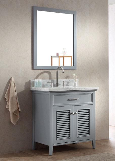 Ariel Kensington Single 31 Inch Transitional Bathroom Vanity Set Grey