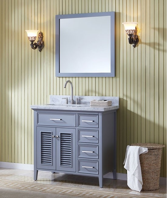 37 inch bathroom vanity. Ariel Kensington  single 37 Inch Transitional Bathroom Vanity Set with Sink on Right or Left Grey