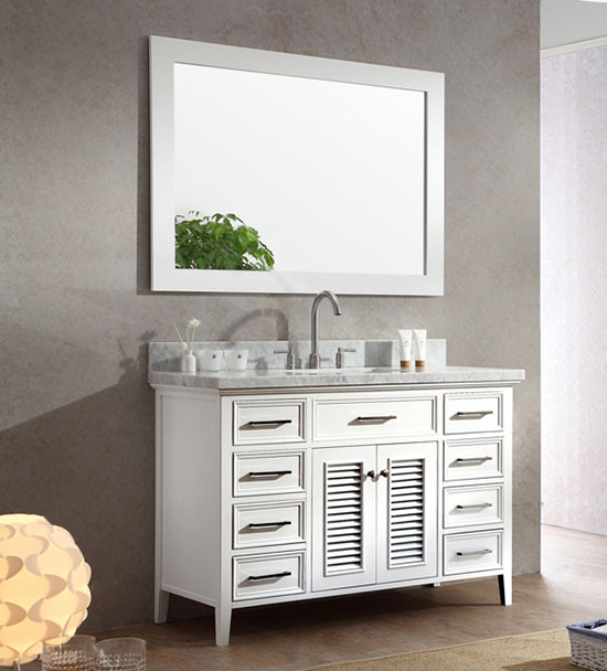 Superbe Ariel Kensington (single) 49 Inch Transitional Bathroom Vanity Set   White