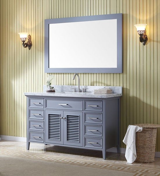 ariel kensington single 55 inch transitional bathroom vanity set grey. Black Bedroom Furniture Sets. Home Design Ideas