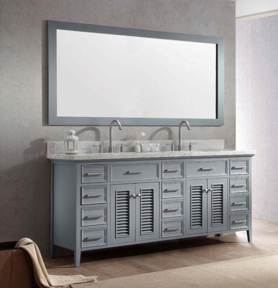 Ariel Kensington Double 73 Inch Transitional Bathroom Vanity Set Grey