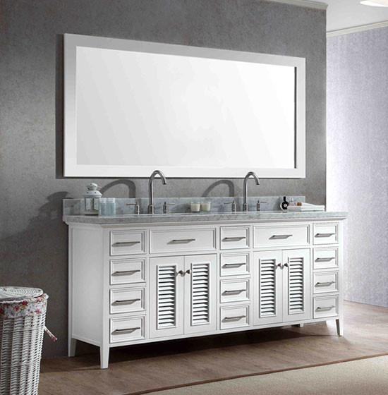 Superieur Ariel Kensington (double) 73 Inch Transitional Bathroom Vanity Set   White