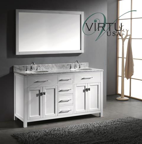 Virtu USA Caroline (double) 60 Inch White Contemporary Bathroom Vanity With  Mirror