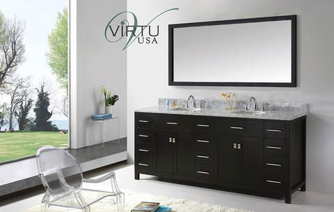 Virtu USA Caroline Parkway (double) 78-Inch Espresso Contemporary Bathroom Vanity with Mirror