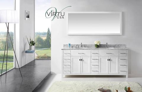 Virtu USA Caroline Parkway (double) 78 Inch Contemporary Bathroom Vanity  With Mirror   White