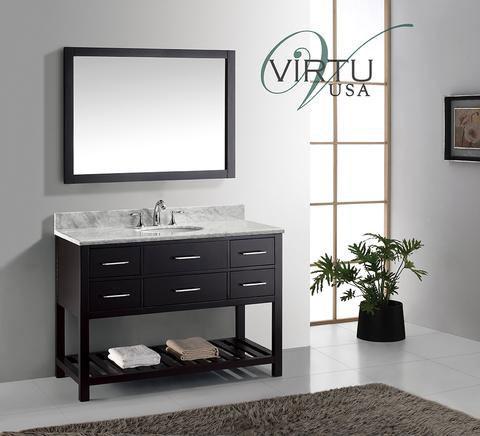 Virtu USA Caroline Estate (single) 48-Inch Espresso Transitional Bathroom Vanity with Mirror