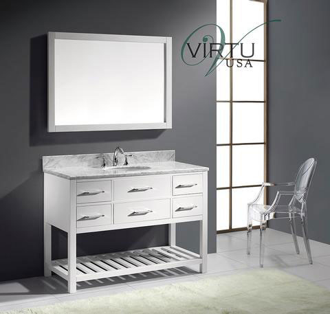 Virtu USA Caroline Estate (single) 48-Inch White Transitional Bathroom Vanity with Mirror