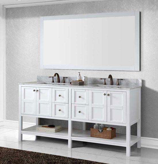 Virtu Usa Winterfell Double 72 Inch Transitional Bathroom Vanity Set White