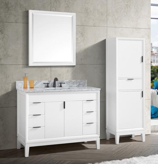 Avanity Emma Single 43 Inch Modern Bathroom Vanity White
