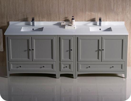 Fresca Oxford Double 84 Inch Transitional Modular Bathroom Vanity Gray