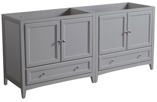 Fresca Oxford (double) 70.75-Inch Gray Transitional Modular Bathroom Vanity (Model 2) - Cabinet Only
