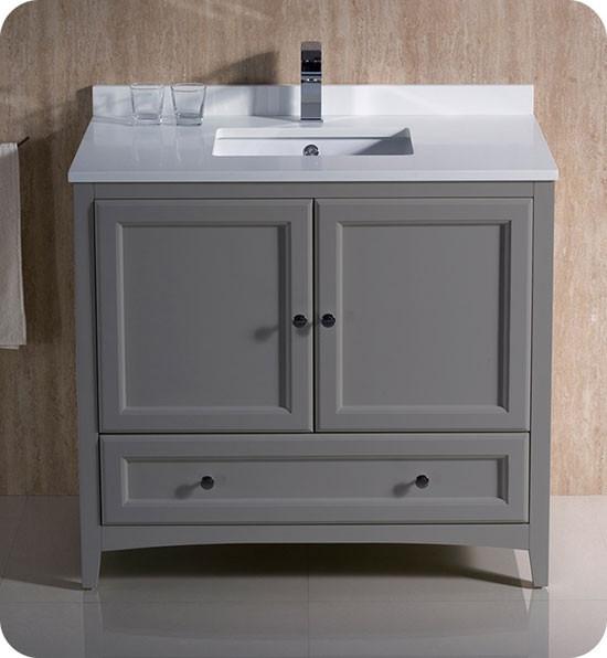 Fresca Oxford Single 36 Inch Transitional Bathroom Vanity Gray