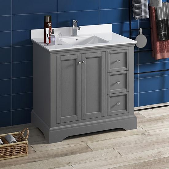 Fresca Windsor Single 36 Inch Transitional Bathroom Vanity Gray Textured