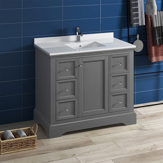 Fresca Windsor Single 40 Inch Transitional Bathroom Vanity Gray Textured