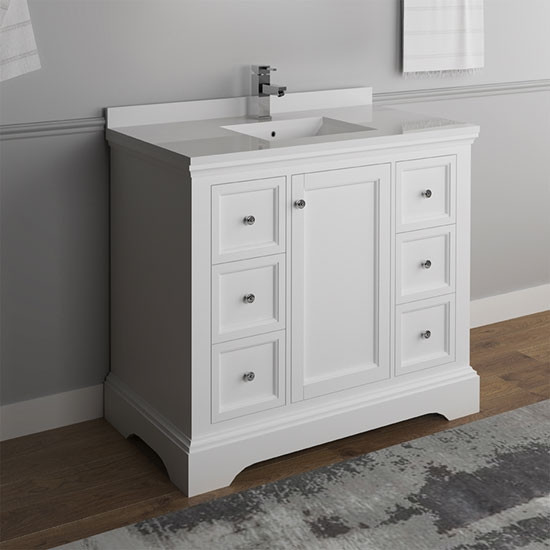 Fresca Windsor Single 40 Inch Transitional Bathroom Vanity Matte White