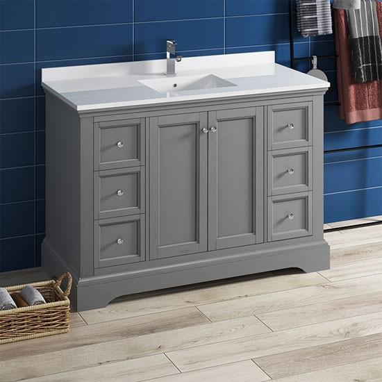 Fresca Windsor Single 48 Inch Transitional Bathroom Vanity Gray Textured