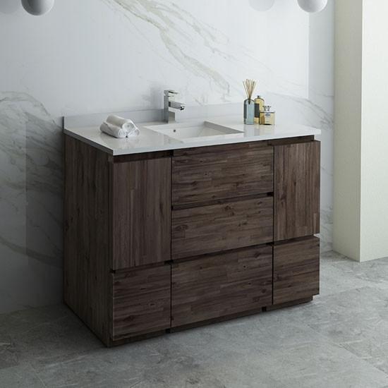 Fresca Formosa Single 47 Inch Modern Modular Bathroom Vanity Cabinet Only Acacia