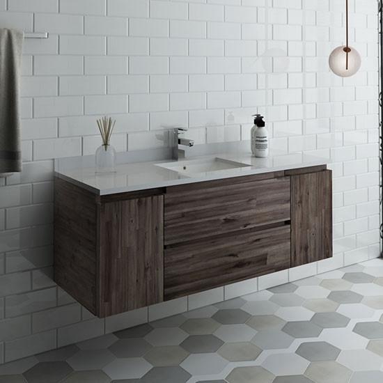Fresca Formosa Single 53 Inch Modern Modular Wall Mount Bathroom Vanity Cabinet Only Acacia
