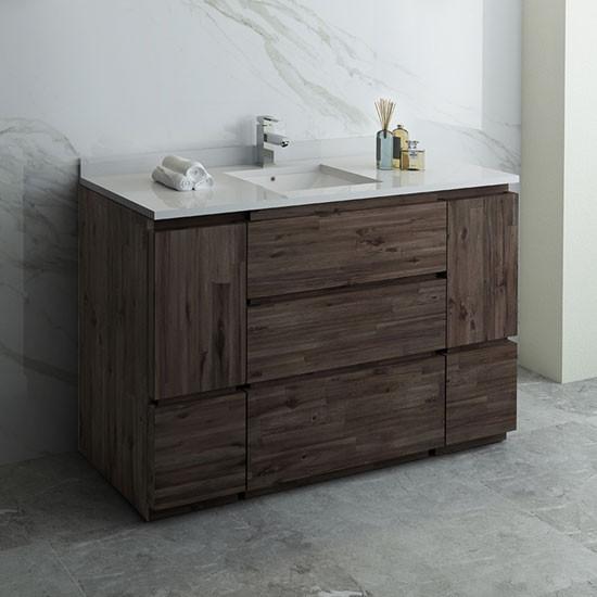Fresca Formosa Single 53 Inch Modern Modular Bathroom Vanity Cabinet Only Acacia