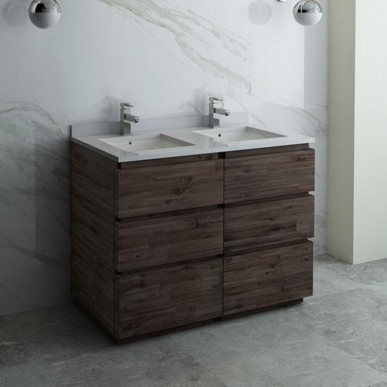 Fresca Formosa Double 46 Inch Modern Modular Bathroom Vanity Cabinet Only Acacia