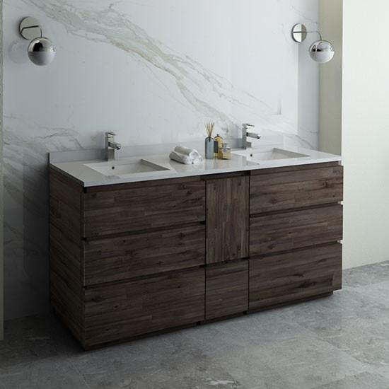 Fresca Formosa (double) 70-Inch Acacia Modern Modular Bathroom Vanity [Model 2] - Cabinet Only