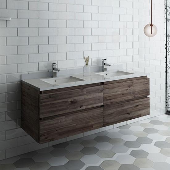 Fresca Formosa Double 58 Inch Modern Modular Wall Mount Bathroom Vanity Cabinet Only Acacia