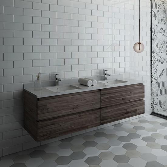 Fresca Formosa Double 70 Inch Modern Modular Wall Mount Bathroom Vanity Cabinet Only Acacia