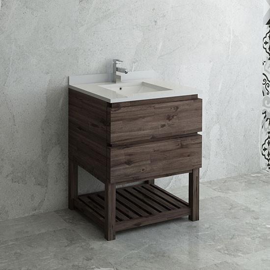 Fresca Formosa Single 30 Inch Modern Modular Bathroom Vanity W Open Bottom Acacia