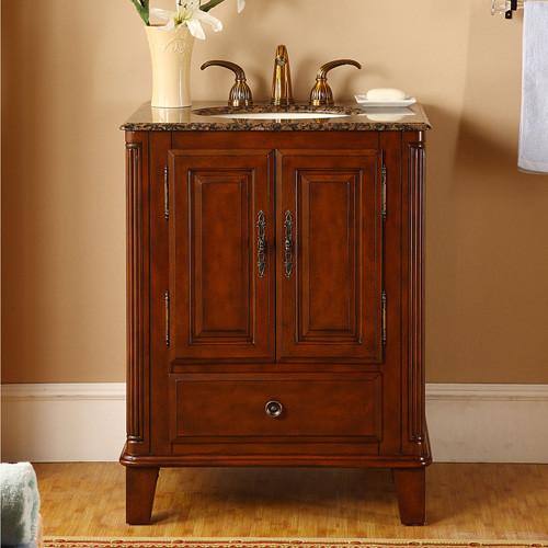 Roanoke, single vanity, bathroom vanity, vanity set, side cabinet, baltic brown granite, 48.5-inch