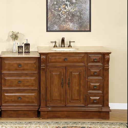 Heather Single 58 Inch Traditional Modular Bathroom Vanity With