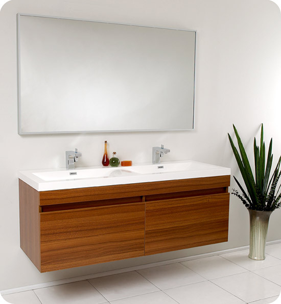 Fresca Largo (double) 56.6 Inch Teak Modern Wall Mount Bathroom Vanity Set