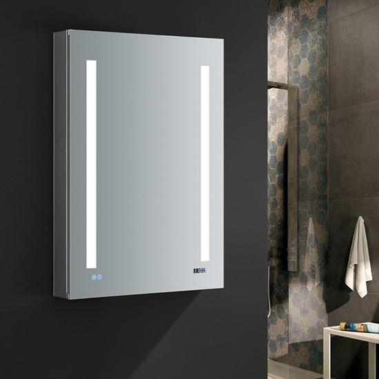 Fresca tiempo 24x36 inch mirrored medicine cabinet with - Bathroom medicine cabinets with led lights ...