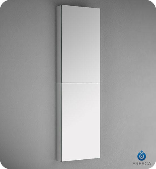 Fresca Fmc8030 15 Inch Wide X 52 Tall Bathroom Mirrored Medicine Cabinet