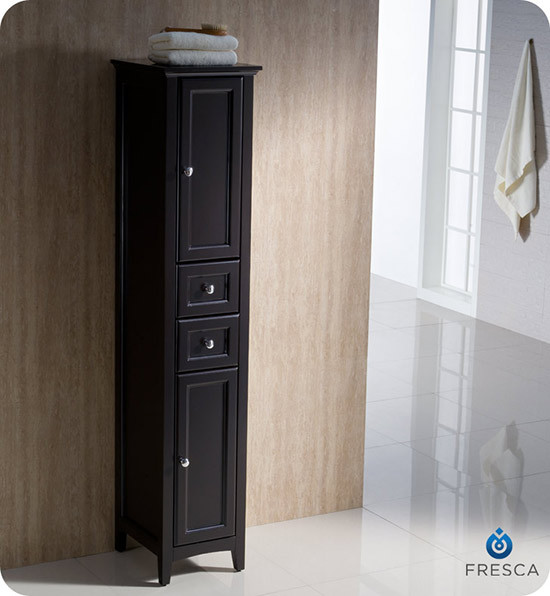 Fresca Oxford 14-Inch Espresso Bathroom Tall Linen Side Cabinet