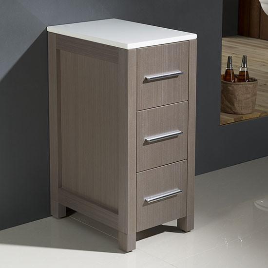 Fresca Torino 12-Inch Gray Oak Bathroom Linen Side Cabinet