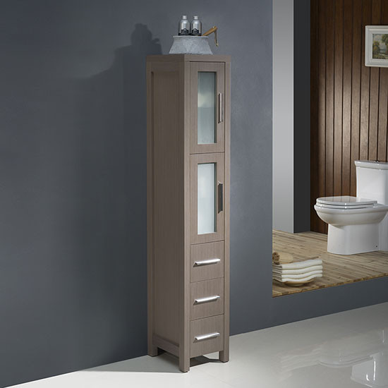 Fresca Torino 12-Inch Gray Oak Bathroom Tall Linen Side Cabinet