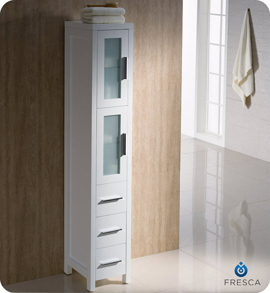 Fresca Torino 12 Transitional Bathroom Tall Linen Side Cabinet White