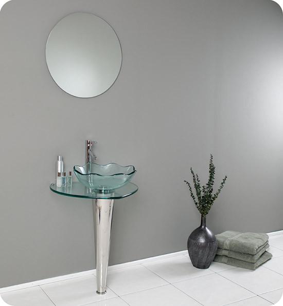 Fresca Netto (single) 24-Inch Clear Glass Modern Bathroom Vanity Set