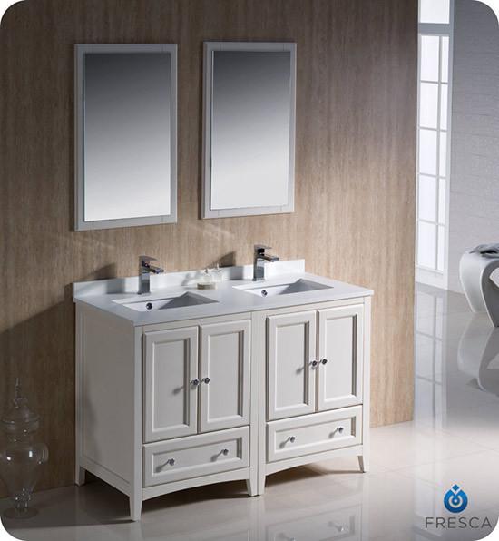 Fresca Oxford (double) 48-Inch Antique White Transitional Modular Bathroom Vanity Set