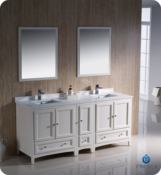 Fresca Oxford (double) 72-Inch Antique White Transitional Modular Bathroom Vanity Set