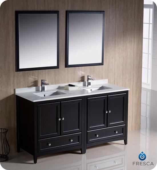 Fresca oxford double 60 inch transitional modular bathroom vanity set model 2 espresso for Modular bathroom vanity pieces