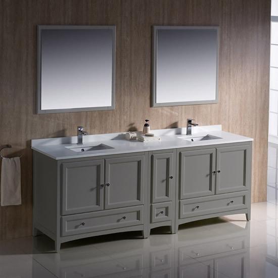Fresca Oxford (double) 84-inch Transitional Modular Bathroom Vanity Set - Gray