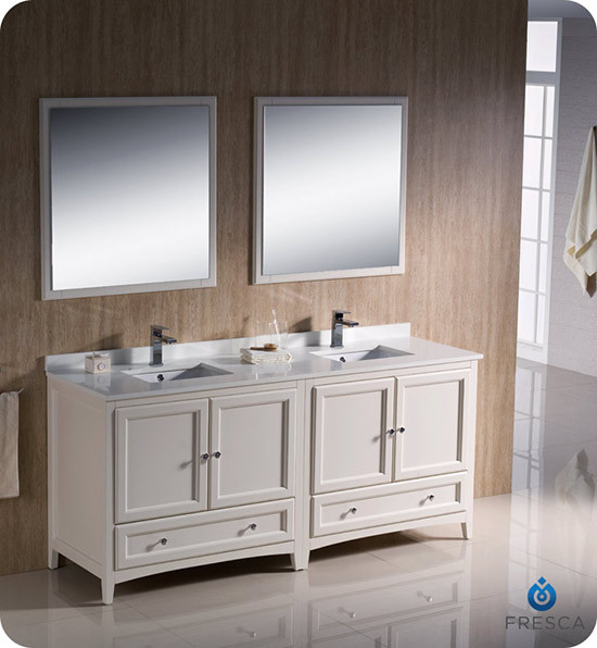 Fresca Oxford (double) 72-Inch Antique White Transitional Modular Bathroom Vanity Set (Model 2)