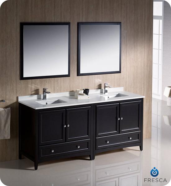 Fresca Oxford (double) 72-Inch Espresso Transitional Modular Bathroom Vanity Set (Model 2)