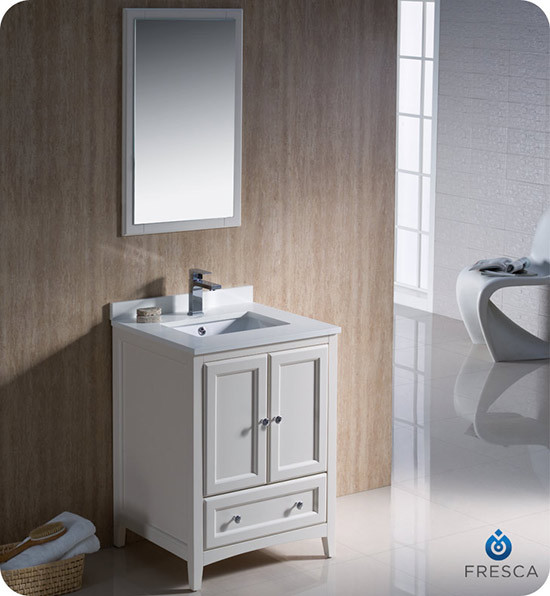 Fresca Oxford (single) 24-Inch Antique White Transitional Bathroom Vanity Set
