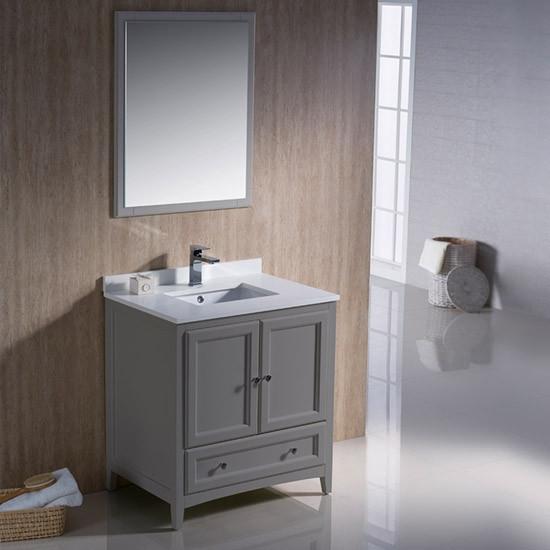 Fresca Oxford Single Inch Transitional Bathroom Vanity Gray - 30 inch grey bathroom vanity