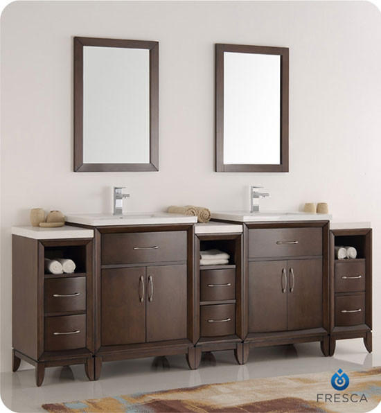 Fresca Cambridge (double) 84 Inch Antique Coffee Modern Bathroom Vanity  With Integrated Sinks