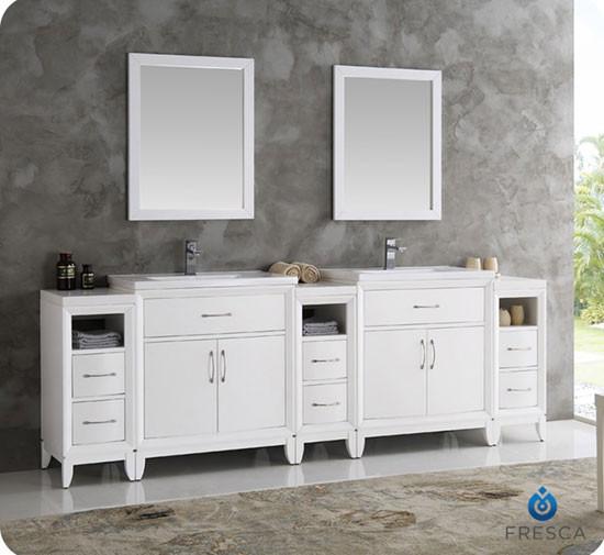 Fresca Cambridge (double) 96-Inch White Modern Bathroom Vanity Set